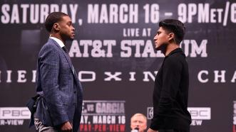 Spence, Garcia Face-off at Landmark Press Conference