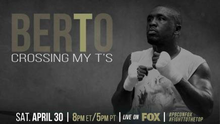 Andre Berto cross his Ts in preparation for Victor Ortiz on April 30